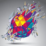 Abstract colorful 3d faceted figure with connected lines and dot. S. Vector low poly shattered design element with fragments and particles. Explosion effect Royalty Free Stock Photo
