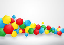 Abstract colorful 3d hexagons background. Abstract red, yellow, green, and blue  3d hexagons background Stock Images