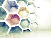 Abstract colorful 3d interior with honeycomb. On the wall Royalty Free Stock Image
