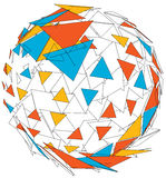 Abstract colorful 3d sphere. Abstract 3d wireframe colorful 3d sphere triangle Stock Photo