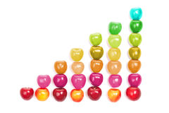 Abstract colorful diagram shaped from cherries Royalty Free Stock Photos