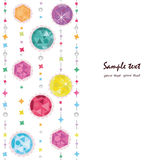 Abstract colorful diamonds greeting card with pearls Royalty Free Stock Images