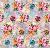 Abstract colorful digital background with classical flowers stock illustration