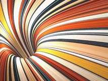 Colorful bent tunnel perspective, 3d render Royalty Free Stock Photos