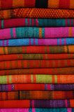 Abstract colorful display of local blankets and carpets, Cuzco, Peru royalty free stock photo