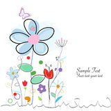 Abstract colorful doodle floral greeting card Stock Photography