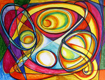 Abstract Colorful Drawing. Drawing of many colorful swirls and shapes Stock Photos