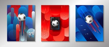World Cup 2018 Russia Soccer set. World Cup 2018 Russia Soccer Abstract background with soccer ball, FOOTBALL dynamic pattern, modern design, russian art Stock Photos
