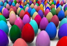 Abstract colorful easter eggs background 3D rendering Stock Photography