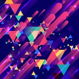 Abstract colorful elements and creative modern overlapping triangles geometric rounded lines pattern motion with lighting glow te vector illustration