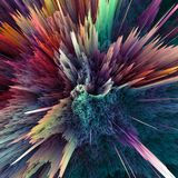 Abstract colorful explosion background. Closeup, hi-res illustration for your brochure, flyer, banner designs and other. Projects. Explosion lighting effect. 3D Stock Photo