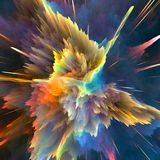 Abstract colorful explosion background. Closeup, hi-res illustration for your brochure, flyer, banner designs and other projects. Explosion lighting effect. 3D Royalty Free Stock Images