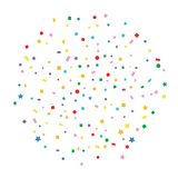 Abstract colorful explosion of confetti. Explosion of colorful confetti. Flat design,  illustration Royalty Free Stock Photo