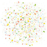 Abstract colorful explosion of confetti from flags, rhombuses and rings. Background with falling tiny confetti pieces Stock Images