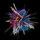 Abstract colorful explosion isolated on black. Background. Hi-res illustration for your brochure, flyer, banner designs and other projects. Explosion lighting Royalty Free Stock Photo