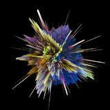 Abstract colorful explosion isolated on black background. Hi-res illustration for your brochure, flyer, banner designs. Abstract colorful explosion isolated on Stock Images
