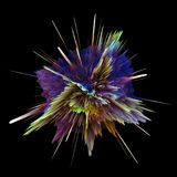 Abstract colorful explosion isolated on black background. Hi-res illustration for your brochure, flyer, banner designs. Abstract colorful explosion isolated on Royalty Free Stock Photography