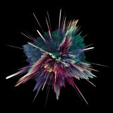 Abstract colorful explosion isolated on black. Background. Hi-res illustration for your brochure, flyer, banner designs and other projects. Explosion lighting Stock Photos