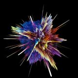 Abstract colorful explosion. Isolated on black background. Hi-res illustration for your brochure, flyer, banner designs and other projects. Explosion lighting Royalty Free Stock Photography