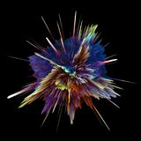 Abstract colorful explosion isolated on black background. Hi-res illustration for your brochure, flyer, banner designs and other. Projects. Explosion lighting Royalty Free Stock Photography