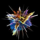 Abstract colorful explosion isolated on black background. Hi-res illustration for your brochure, flyer. 3D render illustration. Abstract colorful explosion Stock Images