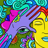 Abstract with colorful faces Stock Photography