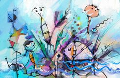 Abstract colorful fantasy oil painting. Semi- abstract of chidren, tree, fish and bird. Spring ,summer season nature background. Hand painted, children stock illustration