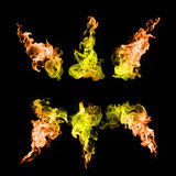 Abstract colorful Fire flames on black background Stock Images