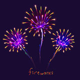 Abstract colorful fireworks background. Christmas lights. Vector illustration Royalty Free Stock Image