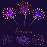Abstract colorful fireworks background. Christmas lights. Vector illustration Stock Photos