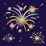 Abstract colorful fireworks. On dark blue background Royalty Free Stock Photography
