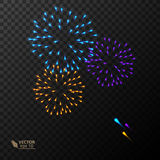 Abstract Colorful fireworks explosion. On dark background. vector illustration Royalty Free Stock Images