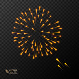 Abstract Colorful fireworks explosion. On dark background. vector illustration Stock Images