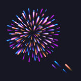 Abstract Colorful fireworks explosion. On dark background. vector illustration Stock Photos