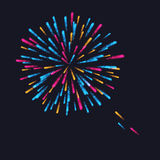 Abstract Colorful fireworks explosion. On dark background. vector illustration Stock Image