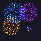 Abstract Colorful fireworks explosion. On dark background. vector illustration Royalty Free Stock Image