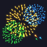 Abstract Colorful fireworks explosion. On dark background. vector illustration Stock Photo