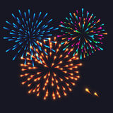 Abstract Colorful fireworks explosion. On dark background. vector illustration Royalty Free Stock Photography