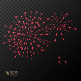 Abstract Colorful fireworks explosion. On dark background. vector illustration Royalty Free Stock Photos