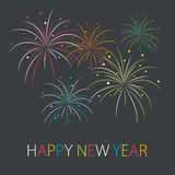 Abstract colorful fireworks in flat style. Happy New Year card. Vector illustration Royalty Free Stock Image