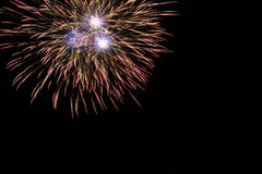 Abstract Colorful fireworks with various colors on dark night backgrounds Stock Images