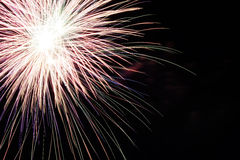Abstract Colorful fireworks with various colors on dark night backgrounds. Happy new year Stock Photos