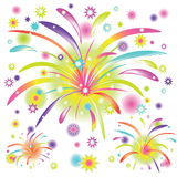 Abstract colorful fireworks. On white background with rainbow elements Stock Photos