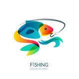 Abstract colorful fish and fishing hook. Vector fishing logo, label, emblem design elements. Stock Photography