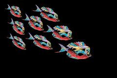 Abstract colorful fishes with black Background. Vector Illustration Stock Photography