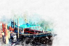Abstract colorful fishing boat and Harbor on watercolor illustration painting. Background stock image