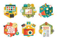 Abstract Colorful Flat Business and Finance Icons. Vector collection of flat and colorful business and finance concepts with long shadow. Design elements for web Royalty Free Stock Images
