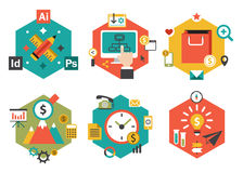 Abstract Colorful Flat Business and Finance Icons Royalty Free Stock Photos
