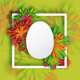Abstract Colorful Floral Greeting card - Happy Easter Day -  Spring Easter Egg. Holiday background with paper cut Frame Flowers.Trendy Design Template. Vector Stock Photography