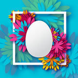 Abstract Colorful Floral Greeting card - Happy Easter Day -  Spring Easter Egg. Stock Image